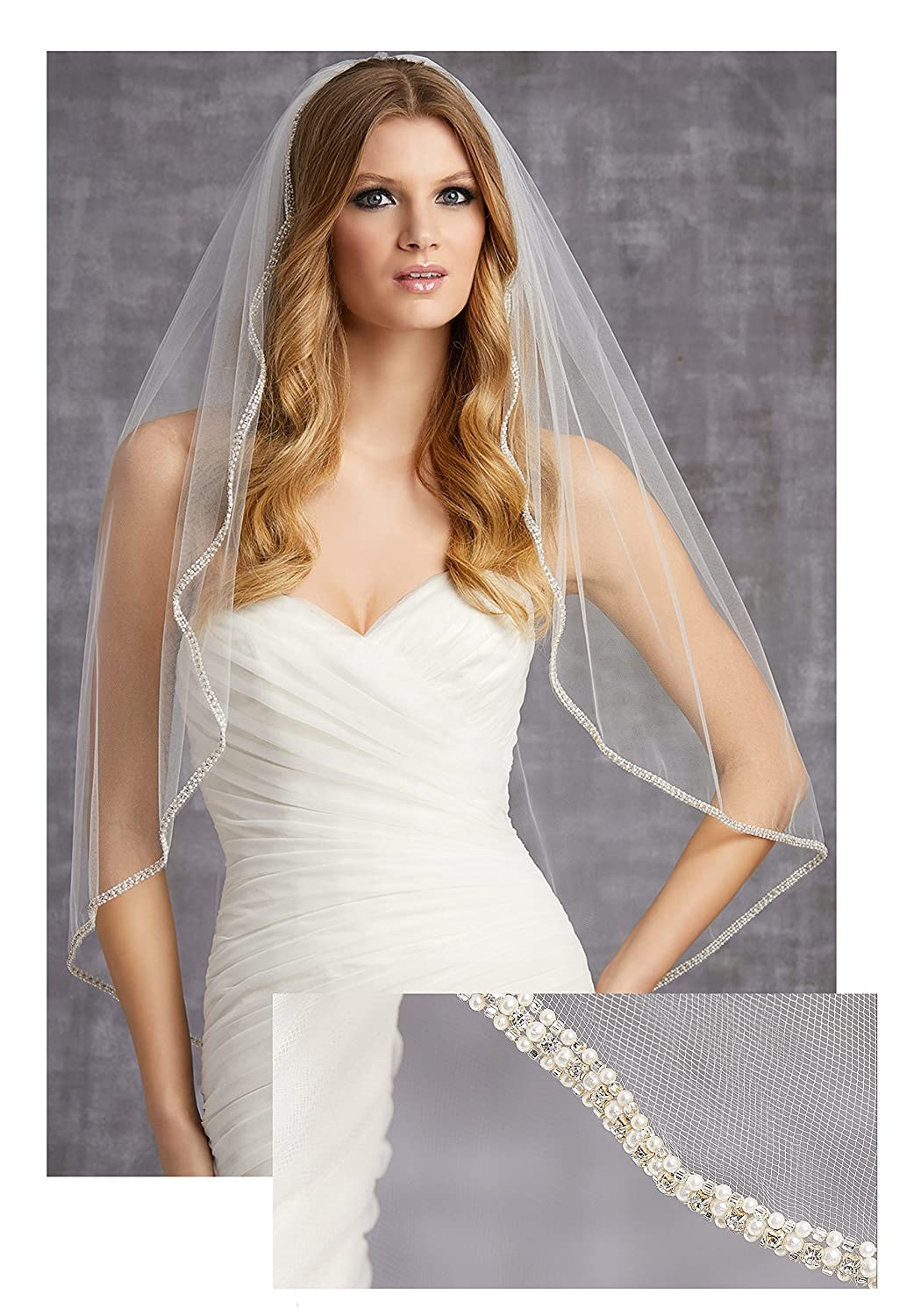 "Gogh 3 Colors Single-Tier 36"" Fingertip Length Veil Edged with Pearls, Bugle Beads, and Rhinestones VL-1017"