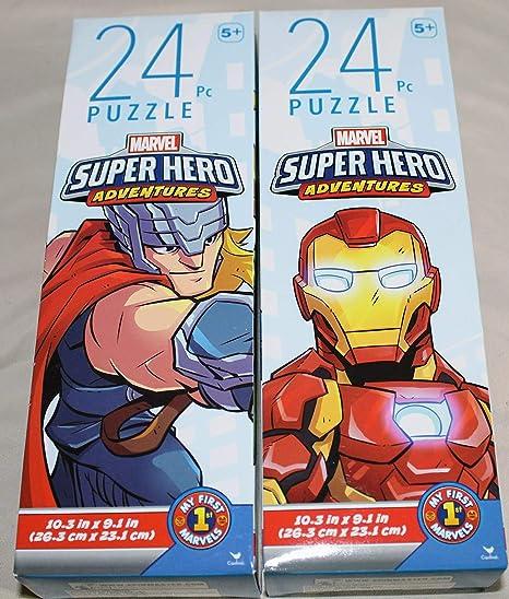 Two Marvel Avengers Iron Man Thor Captain America Hulk 48-Piece Jigsaw Puzzles