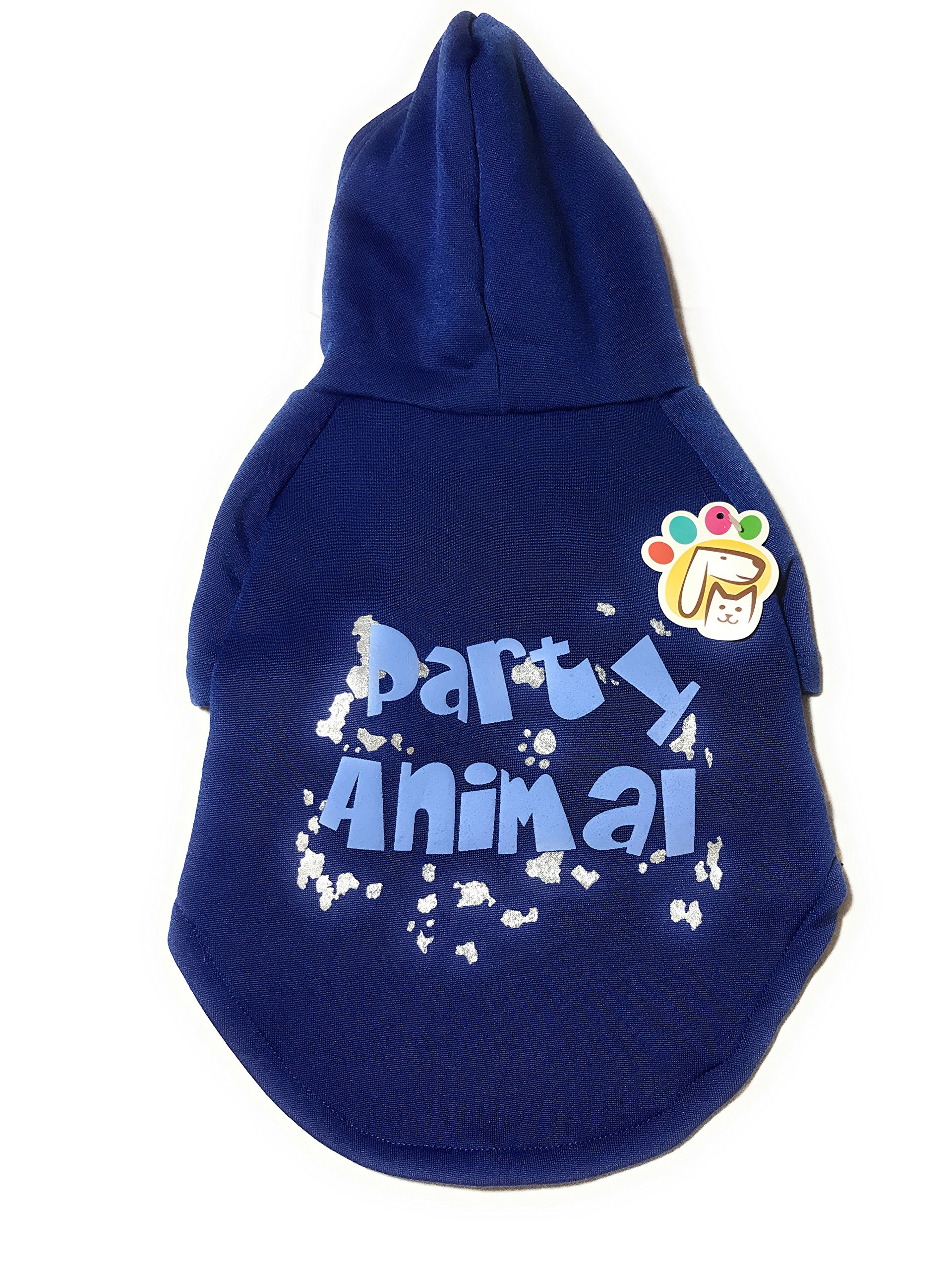 Dog or Puppy Sweater Hoodie ´Party Animal´ Blue and Silver for Small Pets XS size/ Extra Small Fashion and Funny Hoodie Shirt Petmont Brand For Boys Or Girls