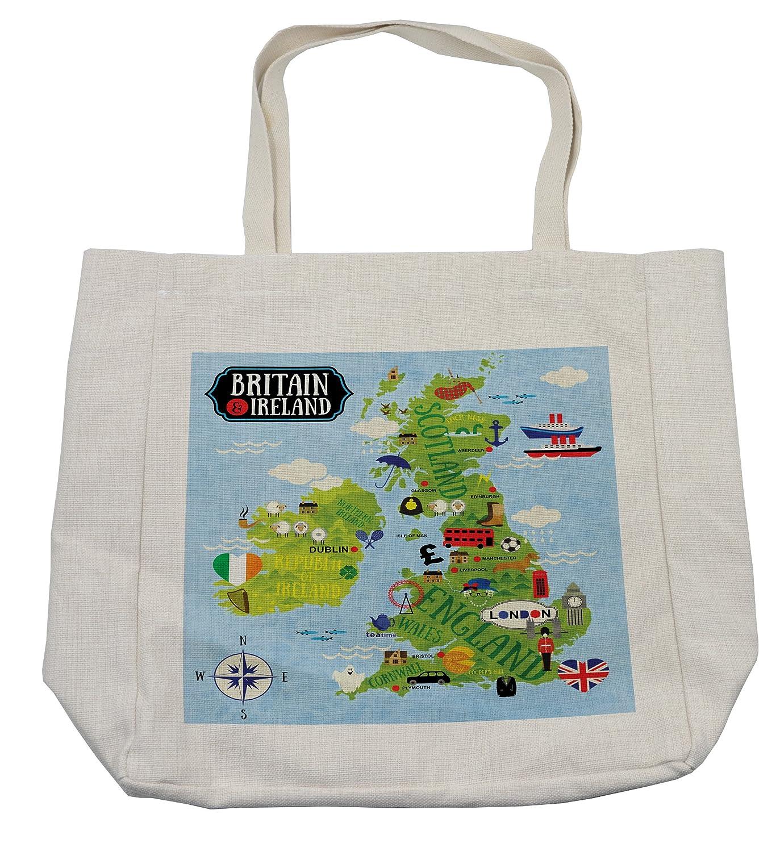 Ambesonne Wanderlustショッピングバッグ、漫画マップBritainとアイルランド子のランドマークの図、環境にやさしい再利用可能なバッグfor Groceriesビーチ旅行学校& More、クリーム   B07DHRRR5F