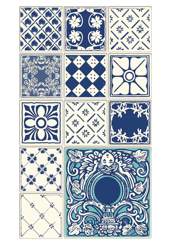 Huella Deco H1010-DO Azulejos Tappeto Doormate Mat Floor, Vinile, 40x70 cm Koeso Srl