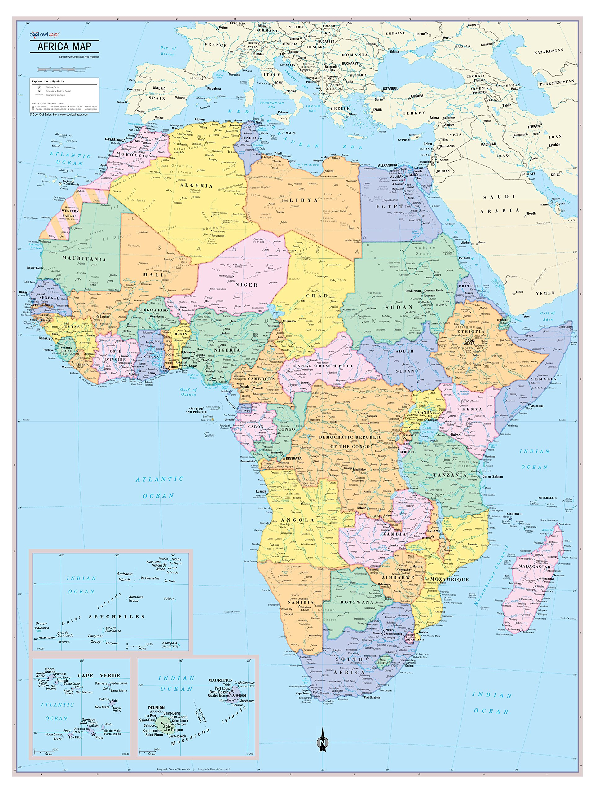 Cool Owl Maps Africa Continent Wall Map Poster - Rolled Paper (30''x40'')