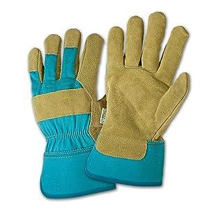 DIRTY WORK DW23000 Split Cowhide Leather Landscaping Work Gloves: Women's Small/Medium, 1 Pair