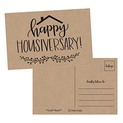 25 kraft happy home anniversary realtor cards blank greeting house postcards bulk real estate - Real Estate Thank You Notes Card