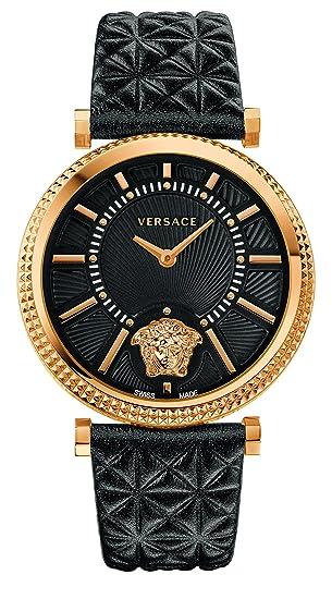 Versace Reloj Análogo clásico para Mujer de Cuarzo con Correa en Cuero VQG040015