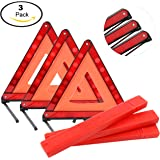 Yaekoo Triple Warning Triangle Emergency Warning Triangle Reflector Safety Triangle Kit, Foldable Reflective Roadside Safety Warning Sign, 3-Pack