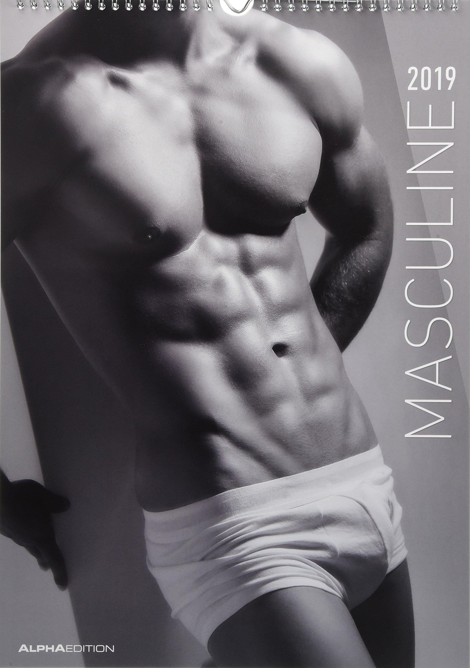 Masculine 2019 - Men - Bildkalender A3 - schwarz/weiß - Erotikkalender