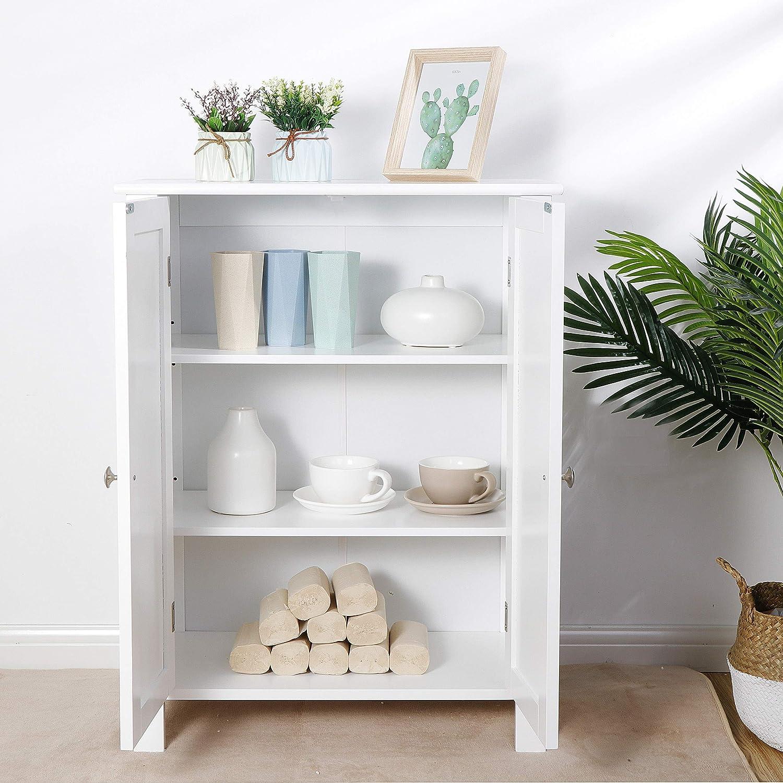 SUPER DEAL Modern Bathroom Floor Storage Cabinet with Adjustable Shelf and Double DoorRust&Moisture Proof, Living Room Modern Home Furniture Storage Organizer Cabinet