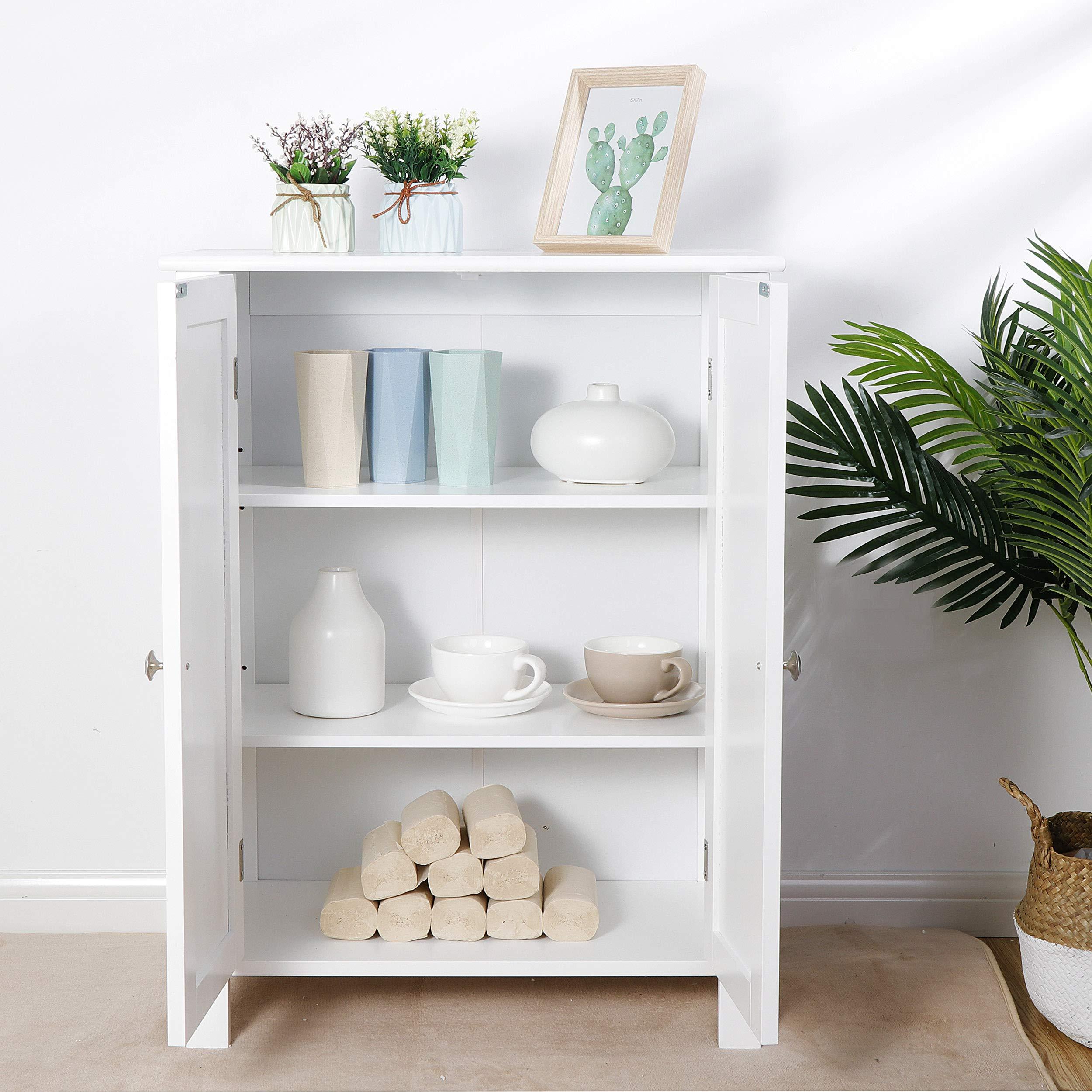 SUPER DEAL Modern Bathroom Floor Storage Cabinet with Adjustable Shelf and Double DoorRust&Moisture Proof, Living Room Modern Home Furniture Storage Organizer Cabinet by SUPER DEAL