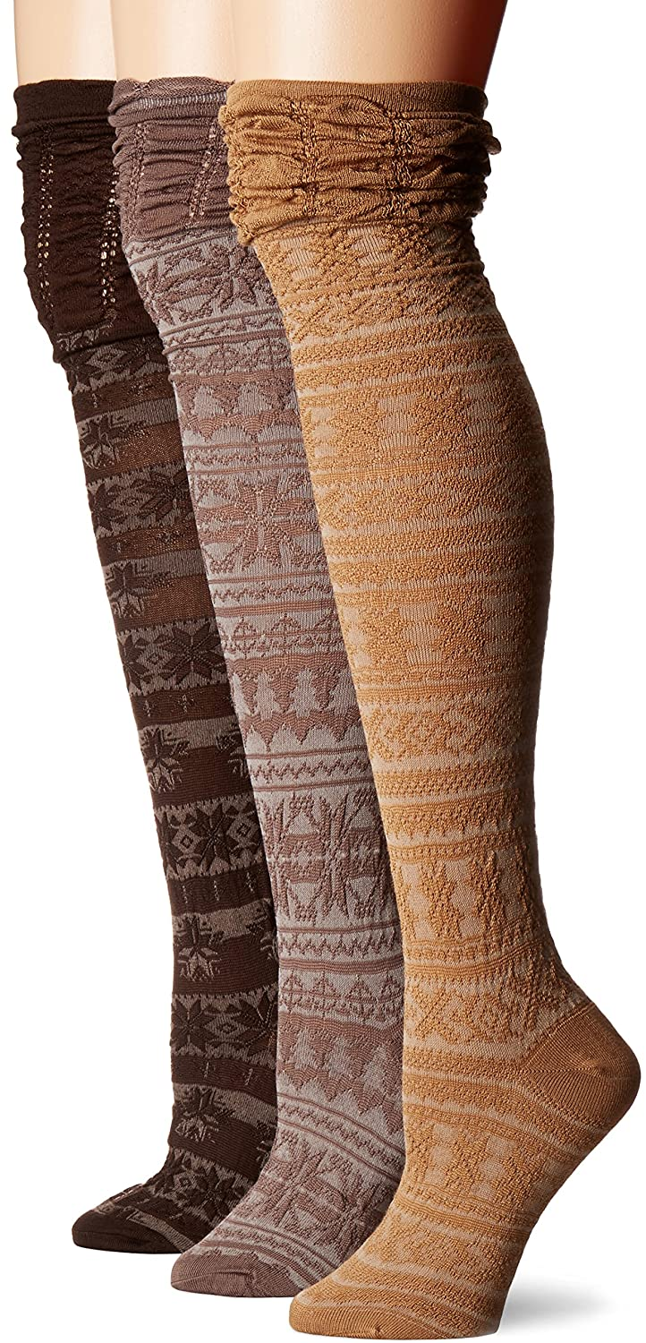 MUK LUKS womens 3 Pair Pack Microfiber Over the Knee Socks Brown OSFM 0023412200-OS