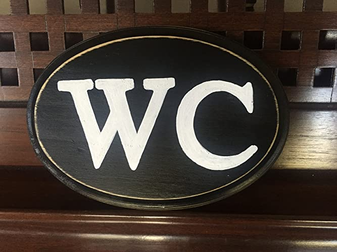 WC Water Closet Plaque Wooden Hand Painted Sign European English Bathroom  Restroom Wall Decor You Pick