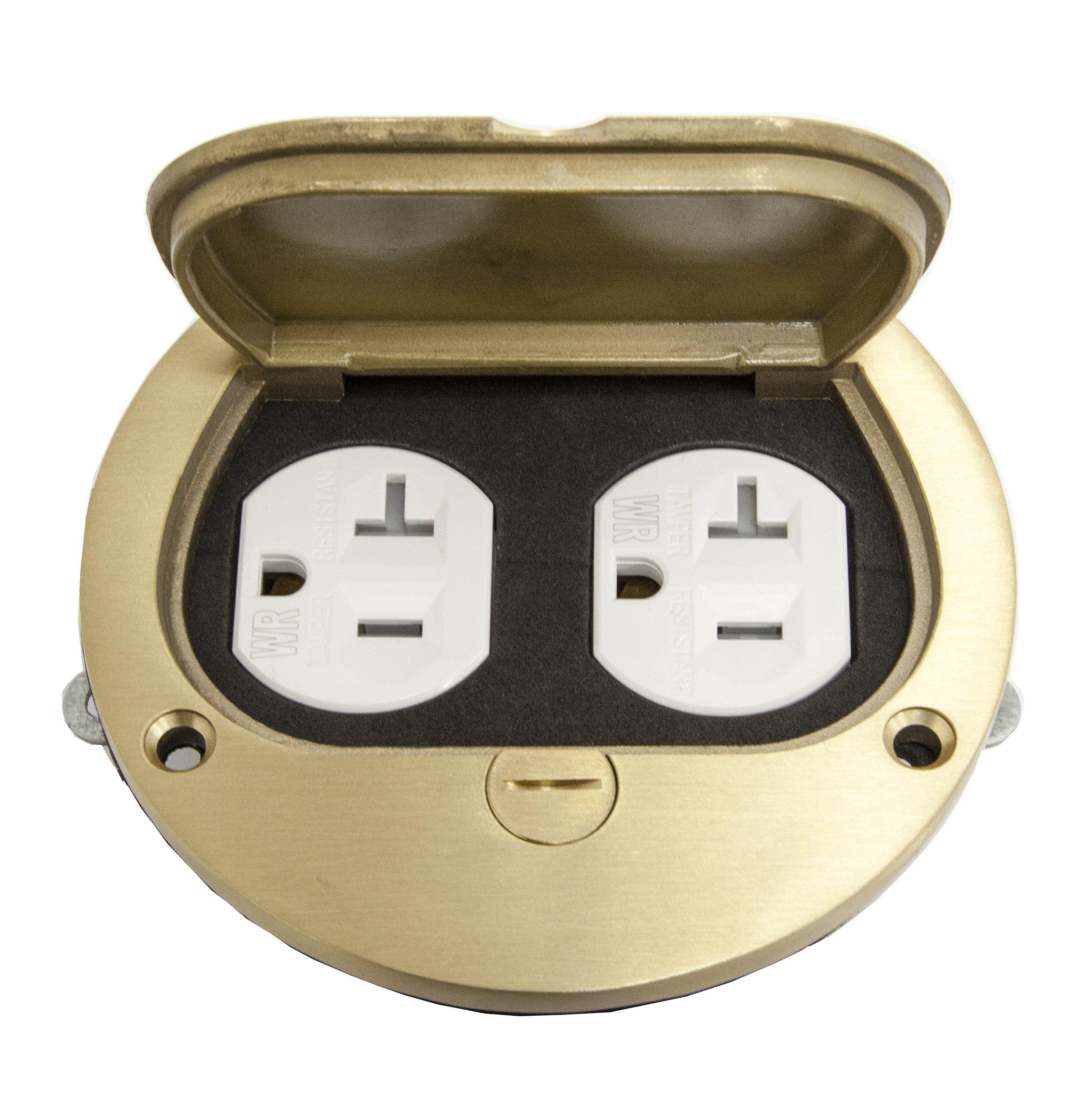 ENERLITES Brass Flip Lid Floor Box Cover, 4'' Diameter, includes 20A Tamper-Weather Resistant Duplex Receptacle & Watertight Gaskets, PN: 975502-C, UL Listed