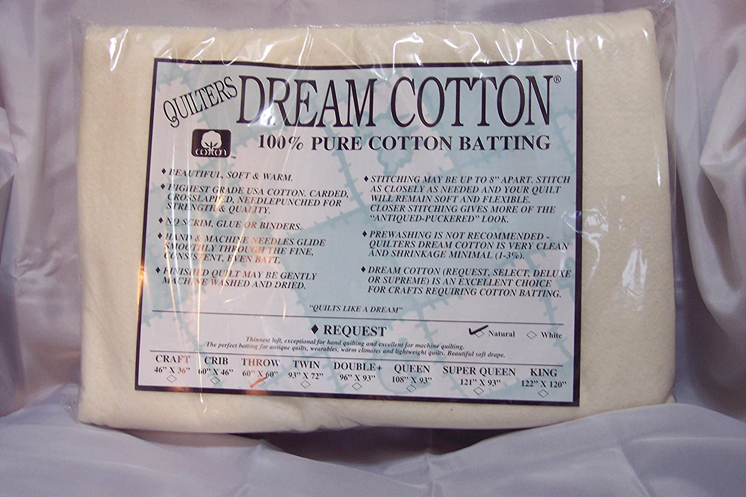 Quilter's Dream Batting- Natural Cotton Request- Thin Loft- Throw Quilter's Dream Batting QDN3TH