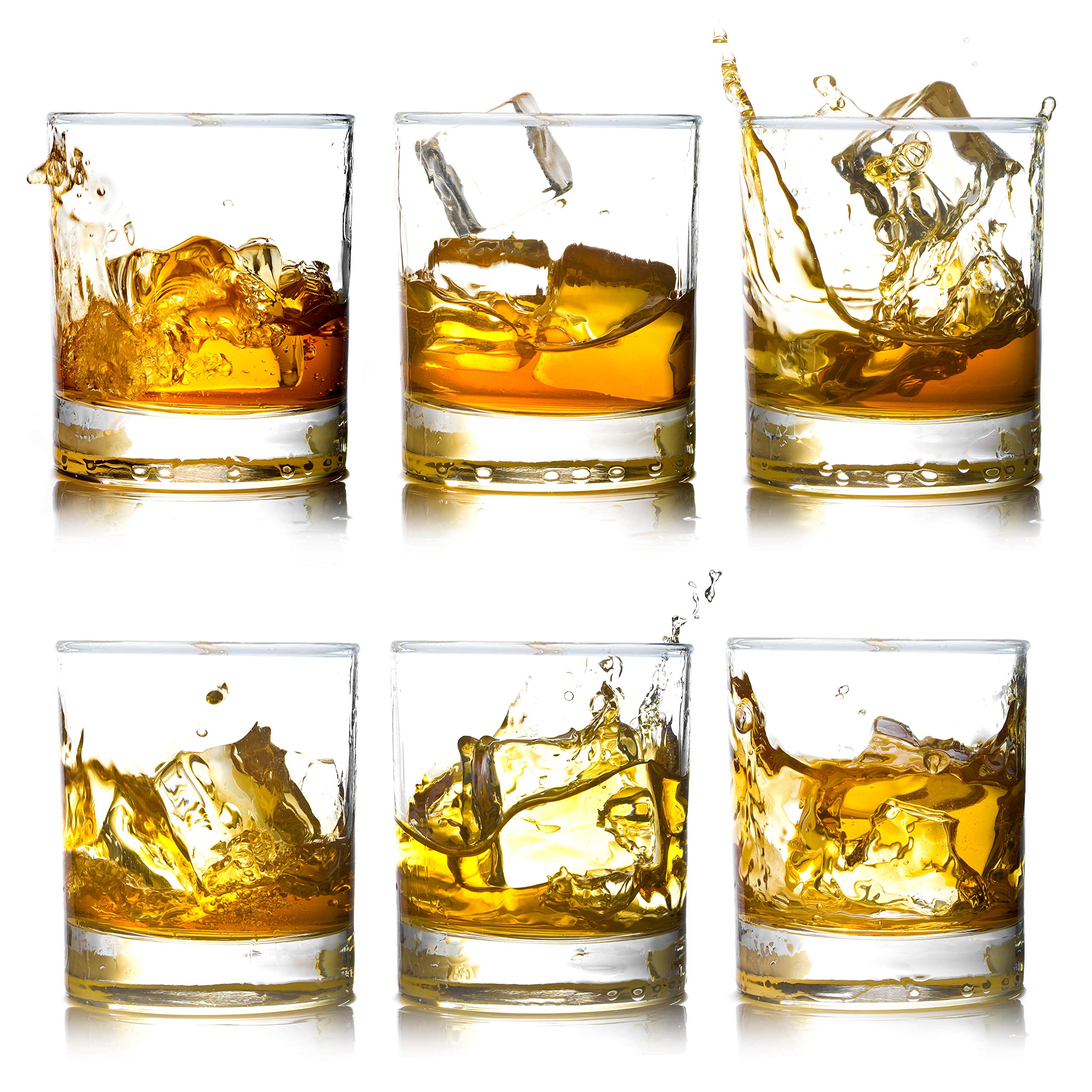 Whiskey Rocks Glasses with Heavy Base and Lead-Free Crystal for Vodka Bourbon Whisky Scotch Liquor 10 oz Set of 6 Thanksgiving Day Gift for Him by BIGA