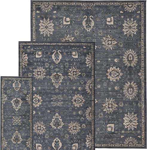 Gertmenian 3-Piece Persian Carpet Modern Oriental Rug, 2×6 5×7 8×10, Gray Abstract Border