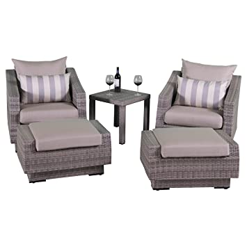 rst brands cannes slate 5 piece club chair and ottoman with side table - Rst Brands
