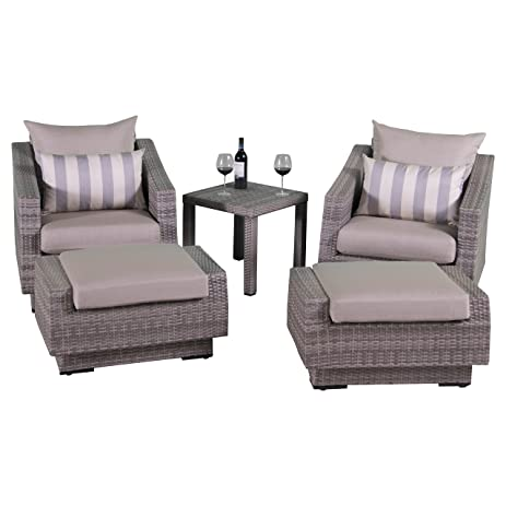 rst brands cannes slate 5 piece club chair and ottoman with side table