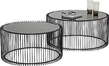 Kare 79577 Couchtisch Wire Black 2er Set Schwarz Runder Moderner