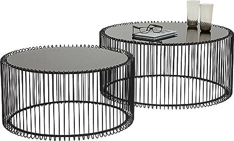 KARE Design Couchtisch Wire Black 2er Set, runder, moderner Glastisch,  großer Beistelltisch, Kaffeetisch, Nachttisch, Schwarz (H/B/T) 30,5xØ60cm &  ...