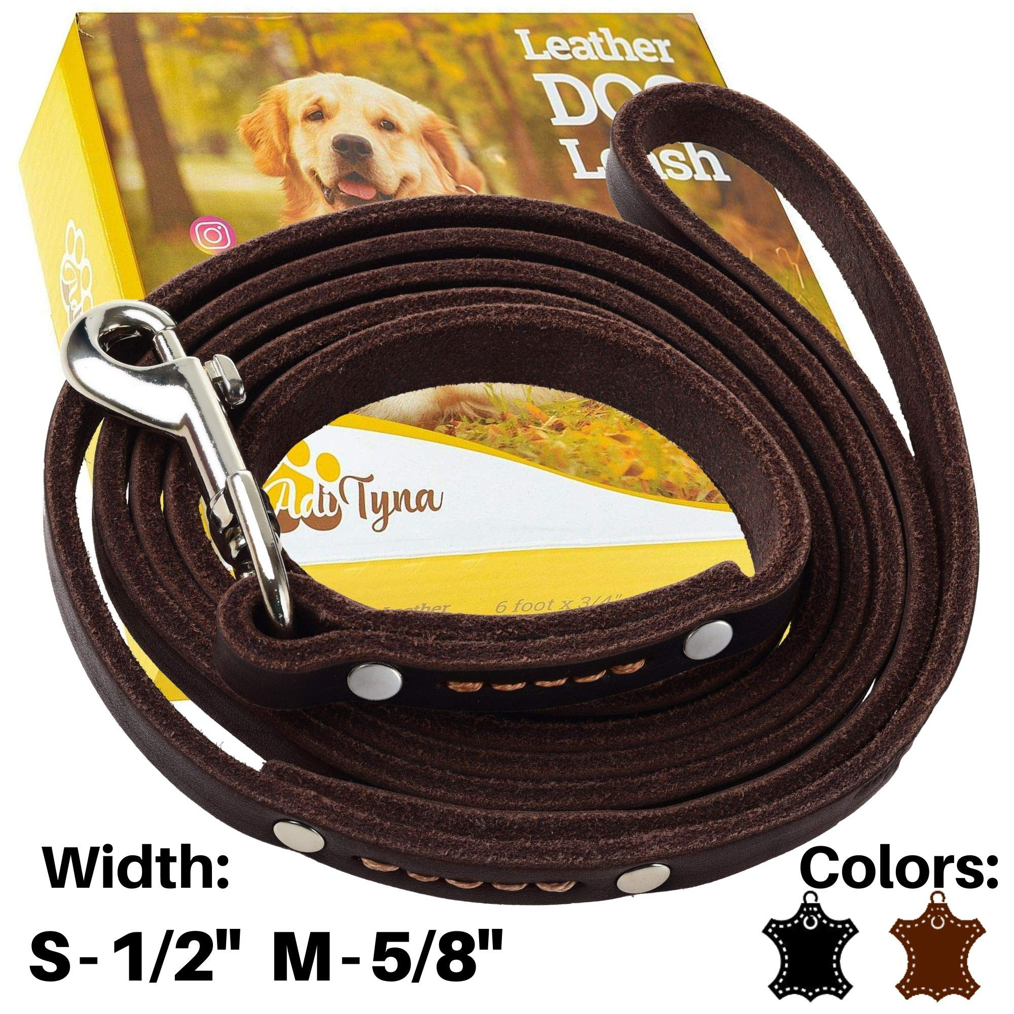 ADITYNA - Leather Dog Leash 6 Foot x 1/2 inch - Strong and Soft Leather Leash for Small or Medium Dogs - Heavy Duty Training Leash (Brown) by ADITYNA