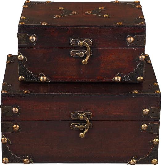Baúles Juego SD 1419, dos Set, Set de regalo baúl, 2 unidades, madera baúl, Cofre del