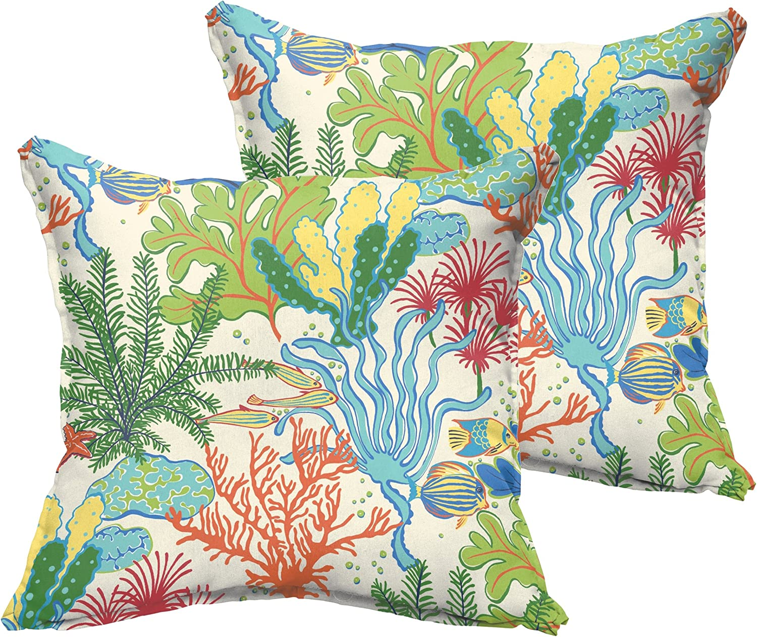 Under The Under The Sea 16 inches Set of 2 Mozaic AZPS7676 Indoor Outdoor Square Pillows