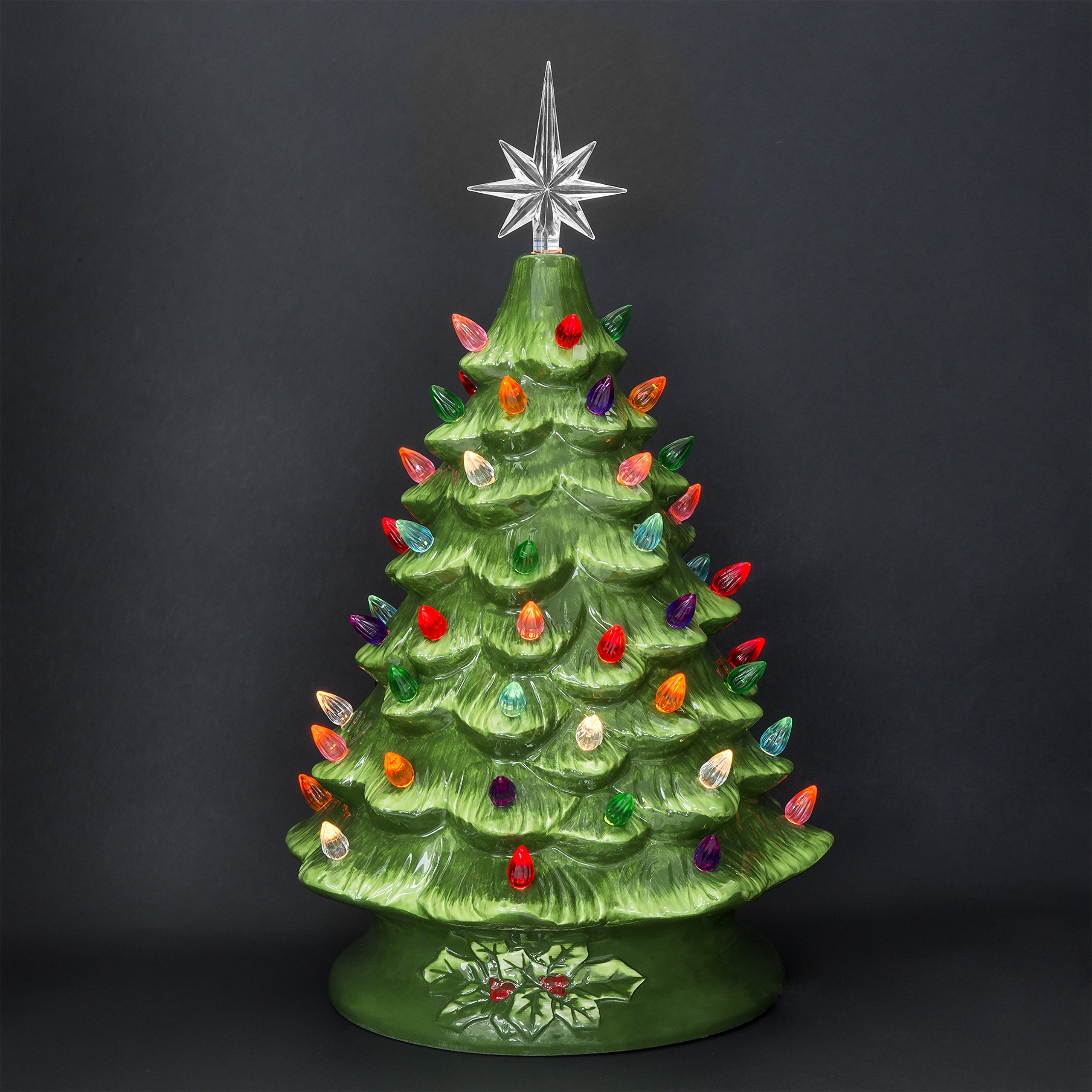 Best Choice Products 15in Pre Lit Hand Painted Ceramic Tabletop Christmas Tree W 50 Lights Star Topper Green