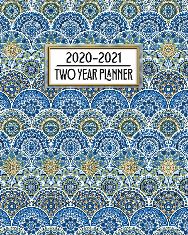 2020 - 2021 Two Year Planner: Beautiful Blue Mandala Art ...