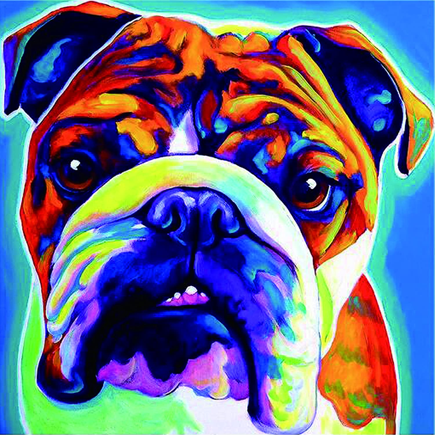 TianMaiGeLun New DIY 5D Diamond Painting Kits Diamond Embroidery Art Painting Pasted Paint By Number Kits Stitch Craft Kit Home Decor Wall Sticker - Colorful Bulldog, 30x30cm