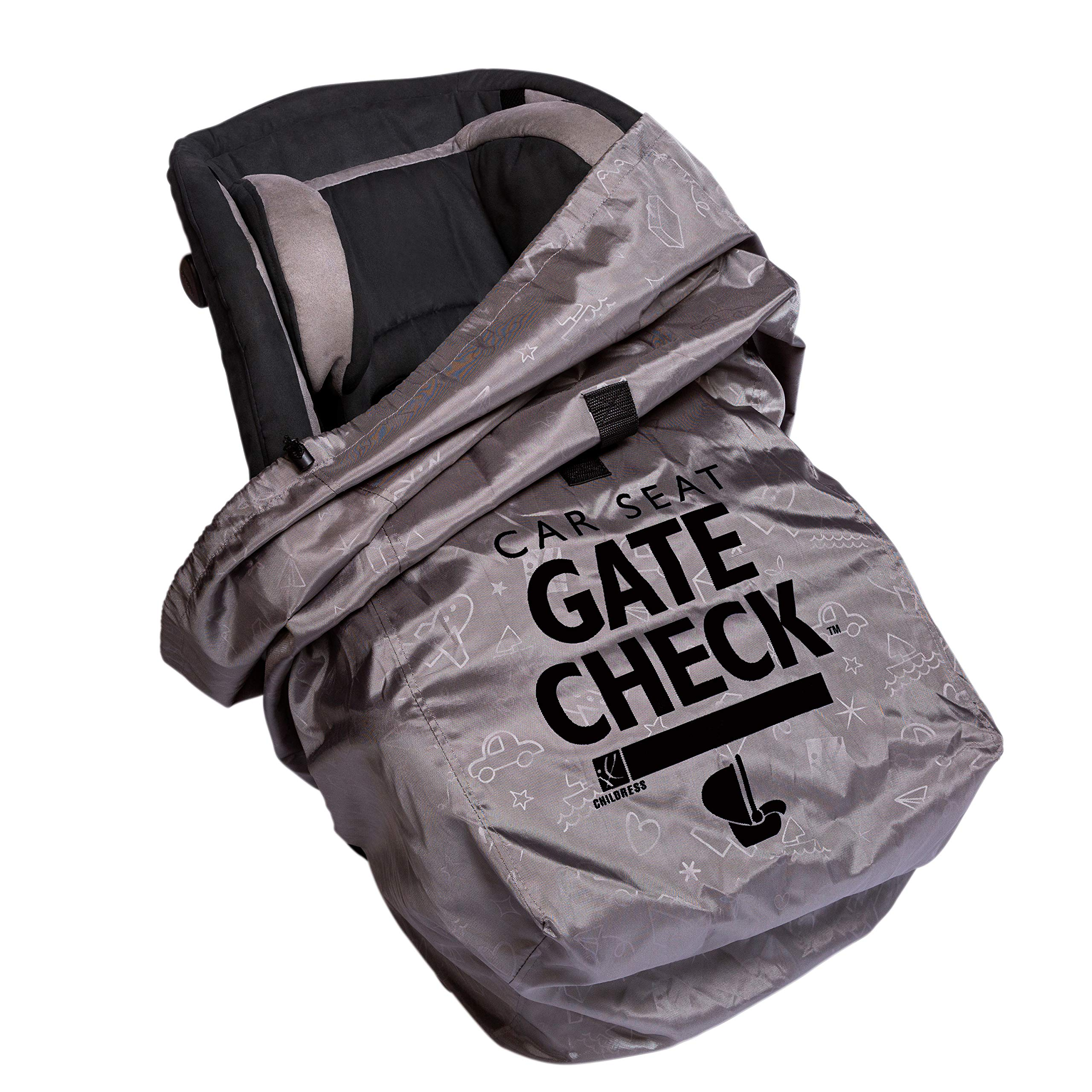 J.L. Childress DELUXE Gate Check Bag for Car Seats - Premium Heavy-Duty Durable Air Travel Bag, Backpack Straps - Fits Convertible Car Seats, Infant carriers & Booster Seats, Grey by J.L. Childress