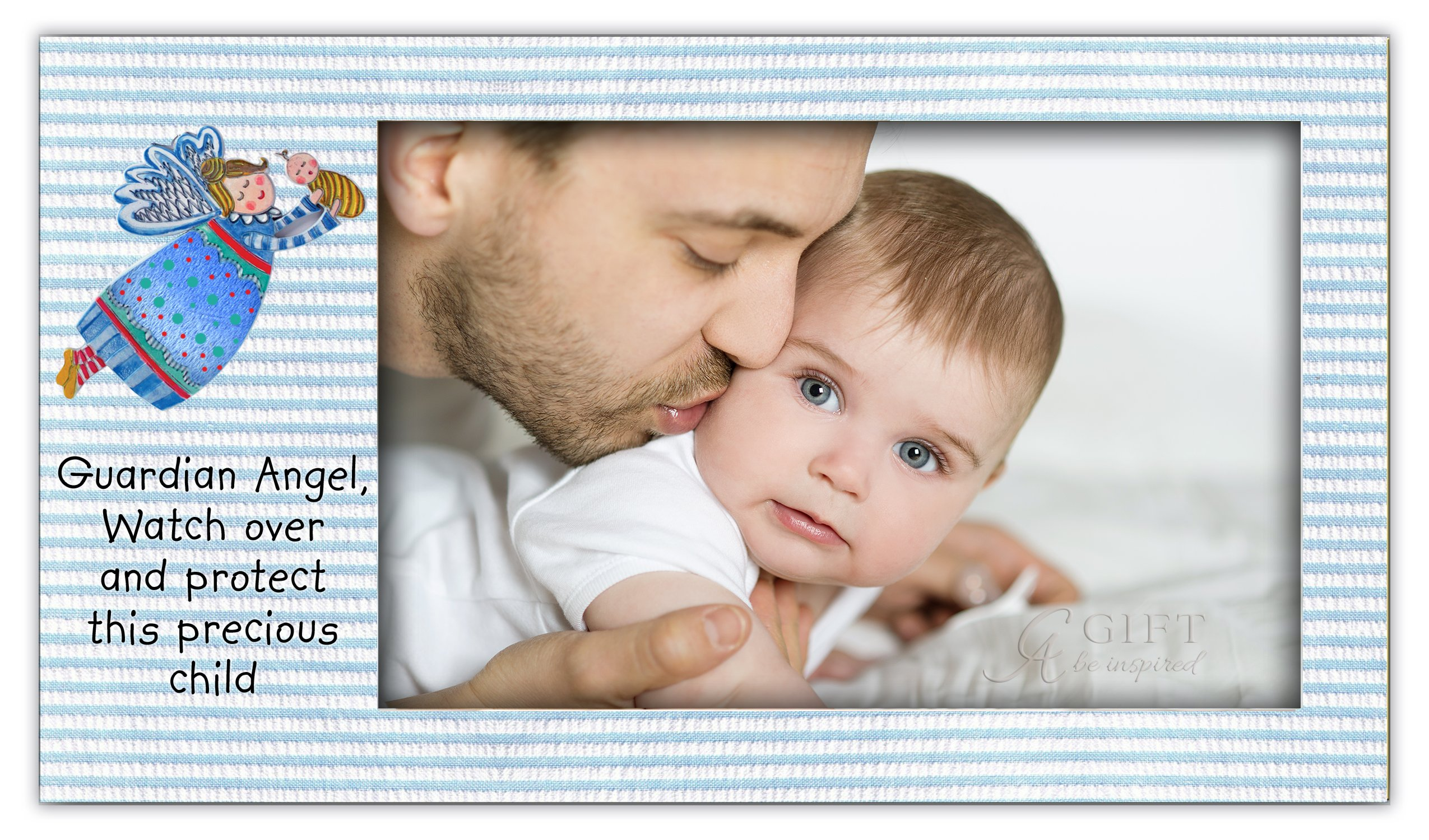 Cathedral Art Guardian Angel Baby Boy Frame, Blue