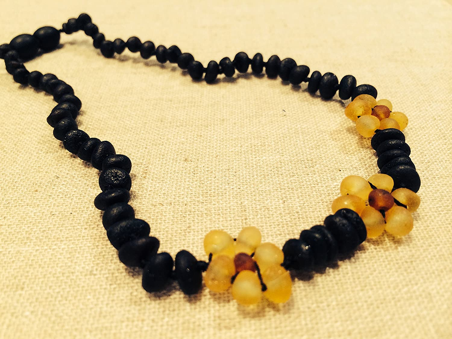 Raw 11 Inch Cherry Lemon Flower Unpolished Raw Baltic Amber Teething Necklace for Babies Baby Infant and Toddlers. Drooling Pain Red Cheeks Certified. by Baltic Essentials   B013GQ70B6