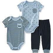 Calvin Klein Baby Boys' 3 Pieces Bodysuit Pant Set, Light Blue, 0/3M