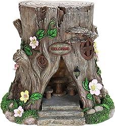 Exhart Large Tree Stump Fairy House Garden Statue, Solar Powered, Fairy Gardening, Resin