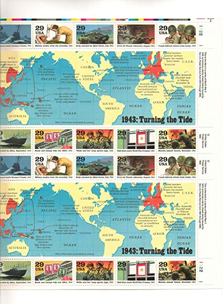Amazon 1943 WWII Turning Tide Sheet Collectible Stamp By