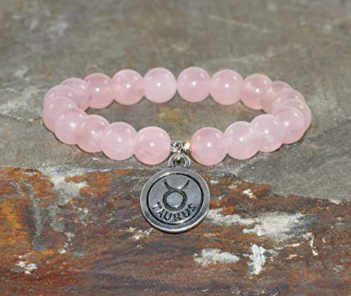 Rose Quartz Beaded Bracelet /& Silver Plated Bead 8mm Polished Pink Stretch Bracelet