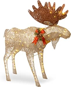 National Tree Company Artificial Christmas Décor   Includes Pre-strung White LED Lights and Ground Stakes   Crystal Splendor Moose - 4 ft