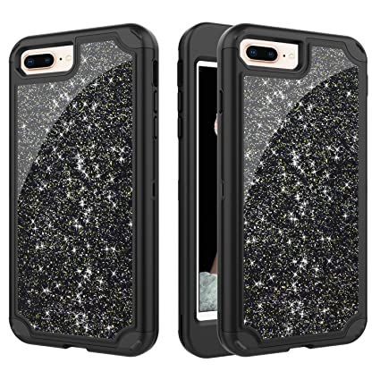 1624cfd6fc iPhone 7 Plus, iPhone 8 Plus, ChenRan Bling Glitter Shiny Full-Body  Protective [ Rubber Bumper + Hard PC Front Cover ] 2 in 1 Hybrid Heavy Duty  Protection ...