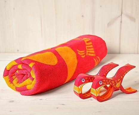 Toalla de playa Tuuli Rosa + 2 pinzas de Tuuli Diseño Sharky Rosa – Combinación Ideal