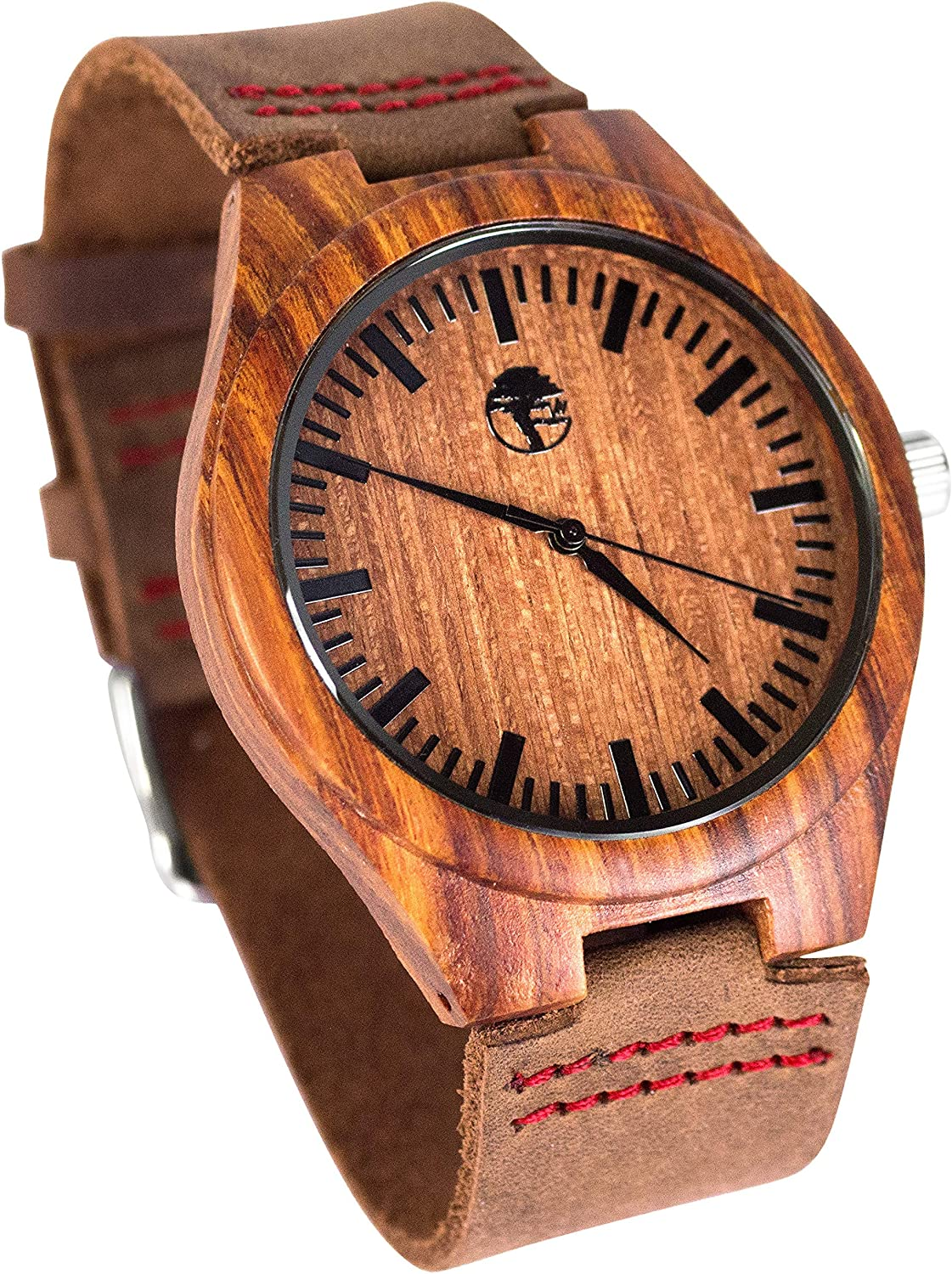 Men s Wood Watch, Natural Bamboo and Sandalwood with Quartz Movement, Genuine Leather Strap