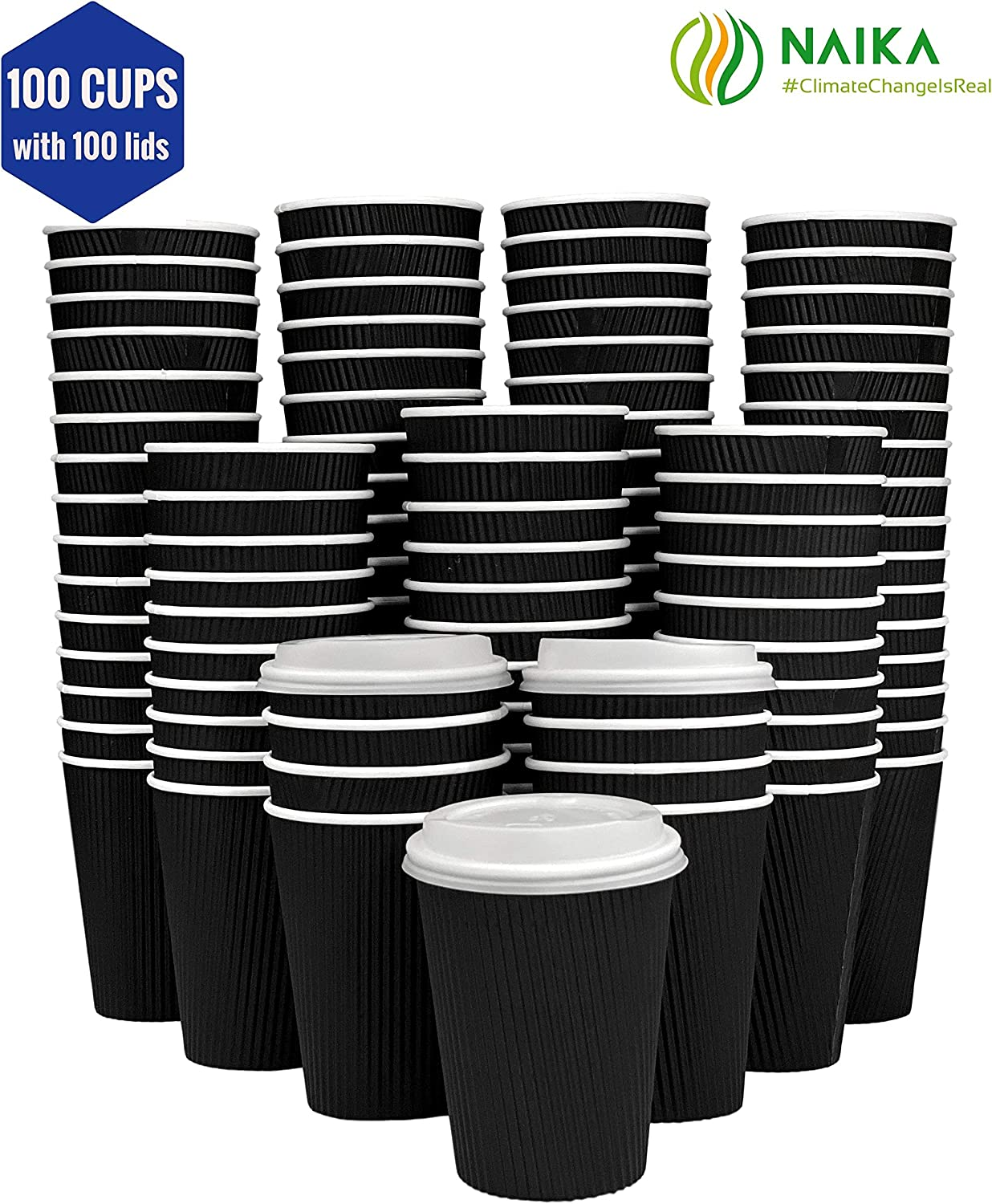 Eco-Friendly |16 Oz Black Ripple PLA Coffee Cups| Disposable Insulated To Go Paper Cups for Hot Beverages perfect for bulk, offices, parties, cafes| 100 PLA Cups