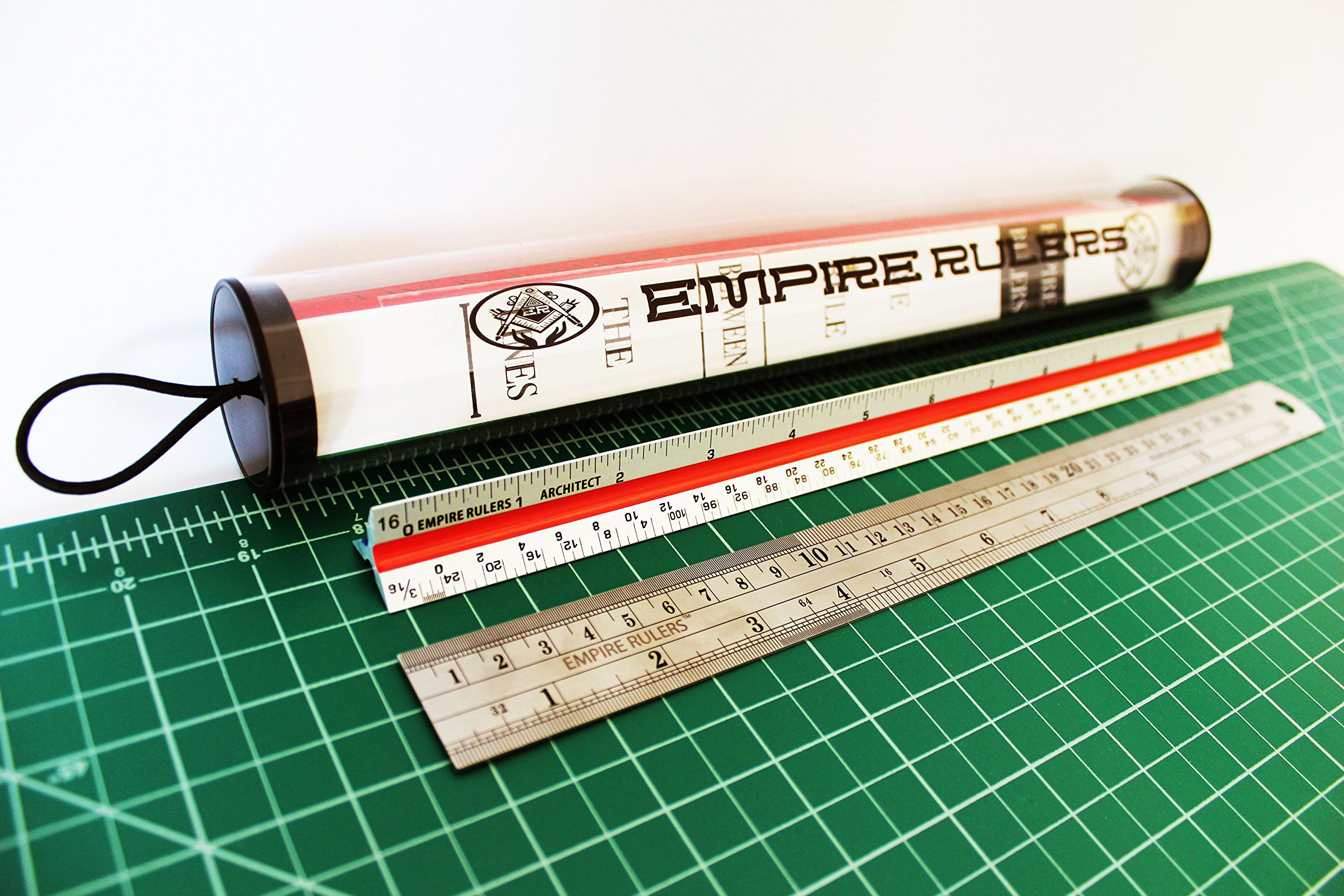 Empire Rulers 12'' Professional Grade Triangular Architect Scale Aluminum Color-Coded Ruler + Heavy Duty Rounded Edge Stainless Steel Ruler with Conversion Table (Laser Etched Markings) by EMPIRE RULERS