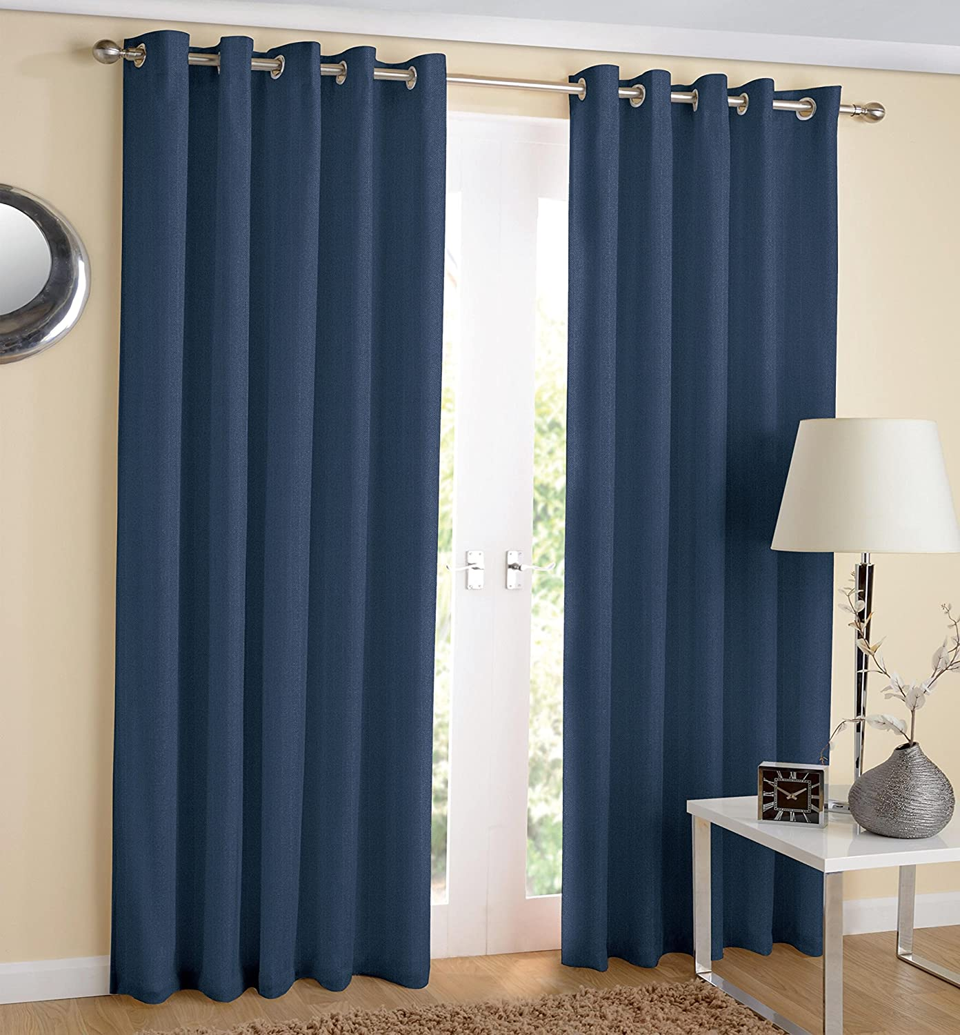 """Hachette Thermal Blackout Curtains Eyelet Ring Top Including Pair of Tiebacks (Navy Blue, 46"""" x 54"""") Navy Blue 46"""" x 54"""""""