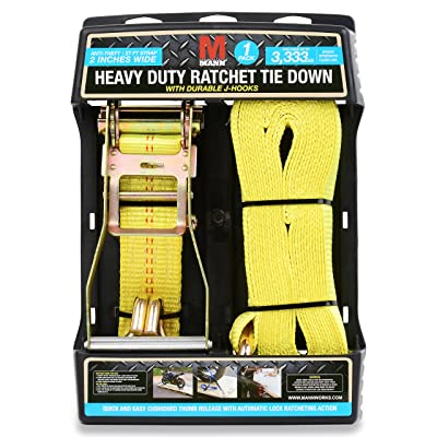 "Mann Ratchet Tie Down Straps J Hook 1 Pack 27'X 2"" (Extra Heavy Duty 3, 333 lbs Load Capacity)"