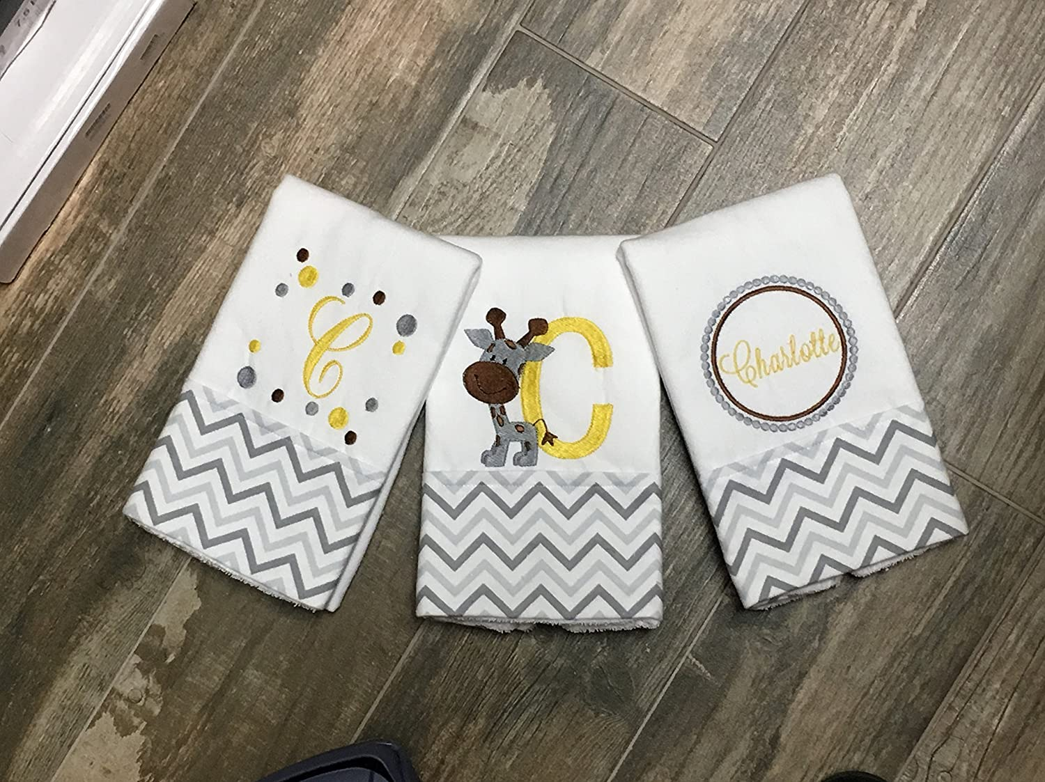 3 Giraffe Embroidered, Personalized Burp Cloths, Gray and Yellow Chevron burp cloth, Boutique Burp Cloth