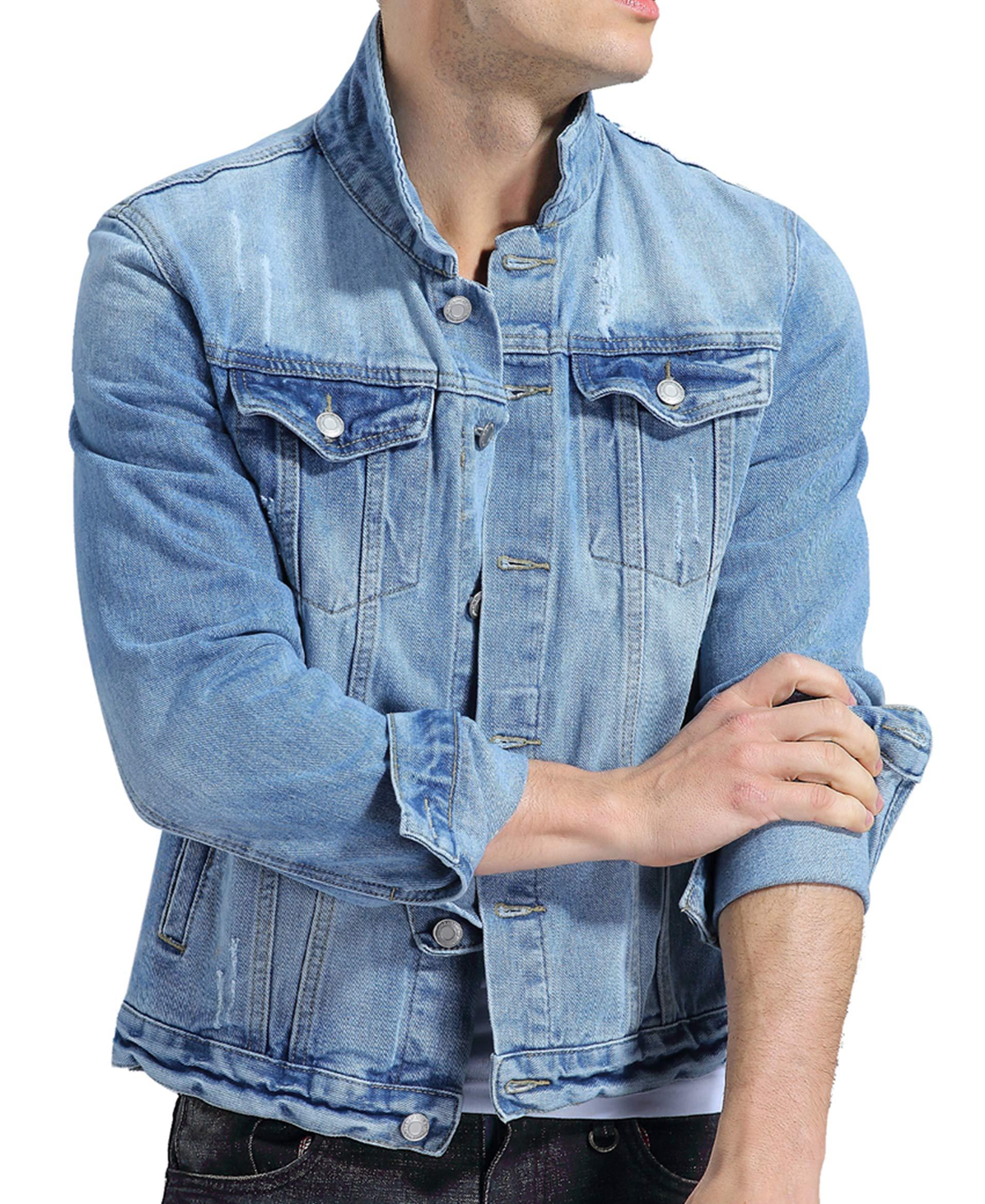 KOGO Men's Denim Jacket (M(Asian XX-L, Light Blue) by KOGO