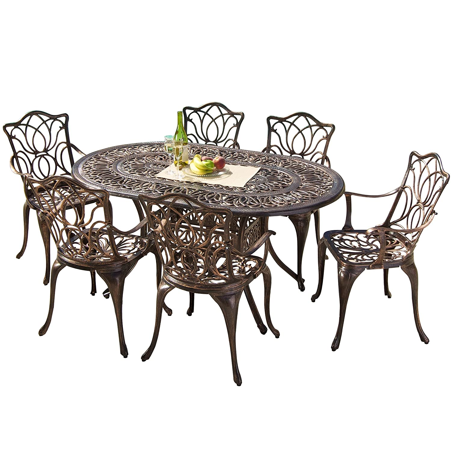 Amazon.com: Gardena Cast Aluminum Outdoor Dining Set (Set Of 7): Kitchen U0026  Dining