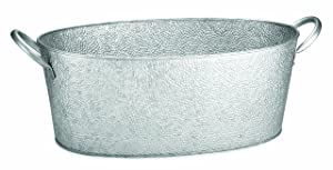 TableCraft GT2313 Galvanized Collection Oval Beverage Tub, 22.8 x 12.5 x 7.4-Inch