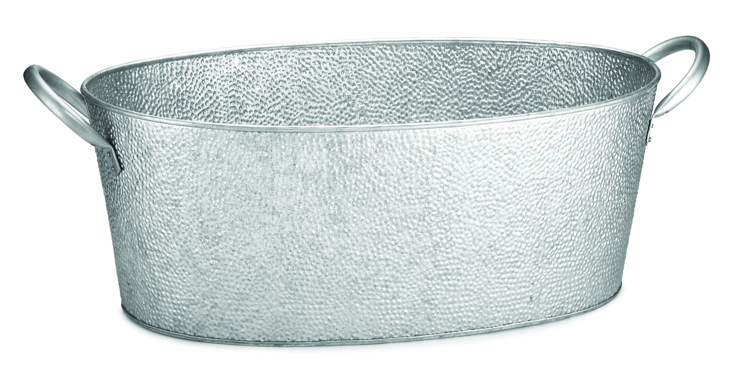 TableCraft GT2313 Oval Beverage Tub Galvanized Pebbled Texture, 22 3/4 x 12 1/2 x 7 3/8-Inch