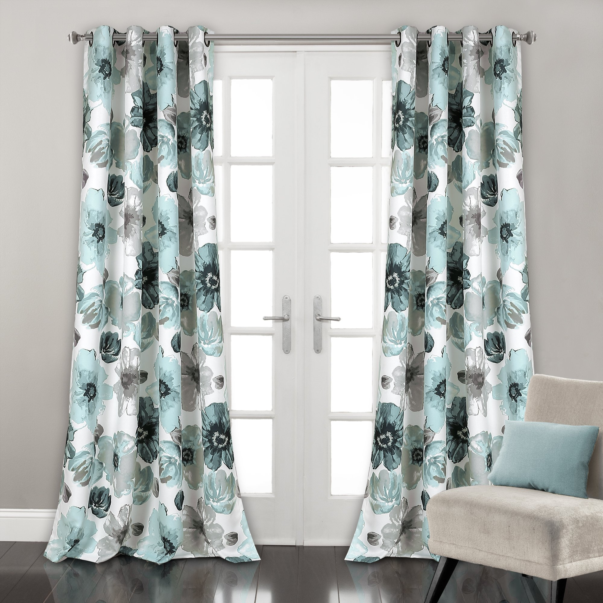 Lush Decor Leah Floral Darkening Window Panel Curtain Set for Living, Dining Room, Bedroom, 84'' L Pair, Blue by Lush Decor